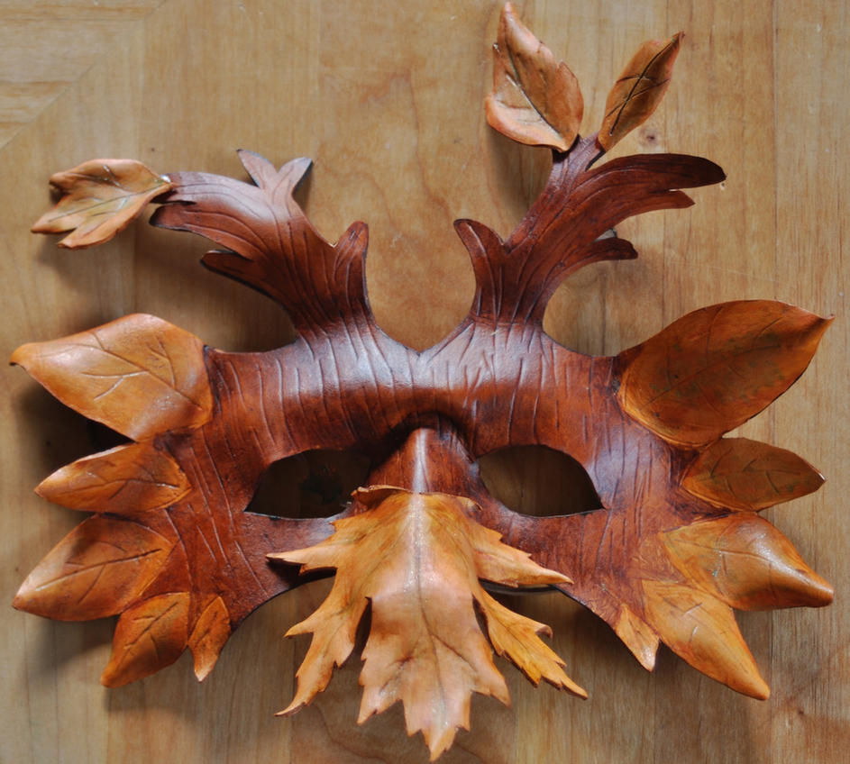 Leather Mask Leaves and Trees by FloggleWerks