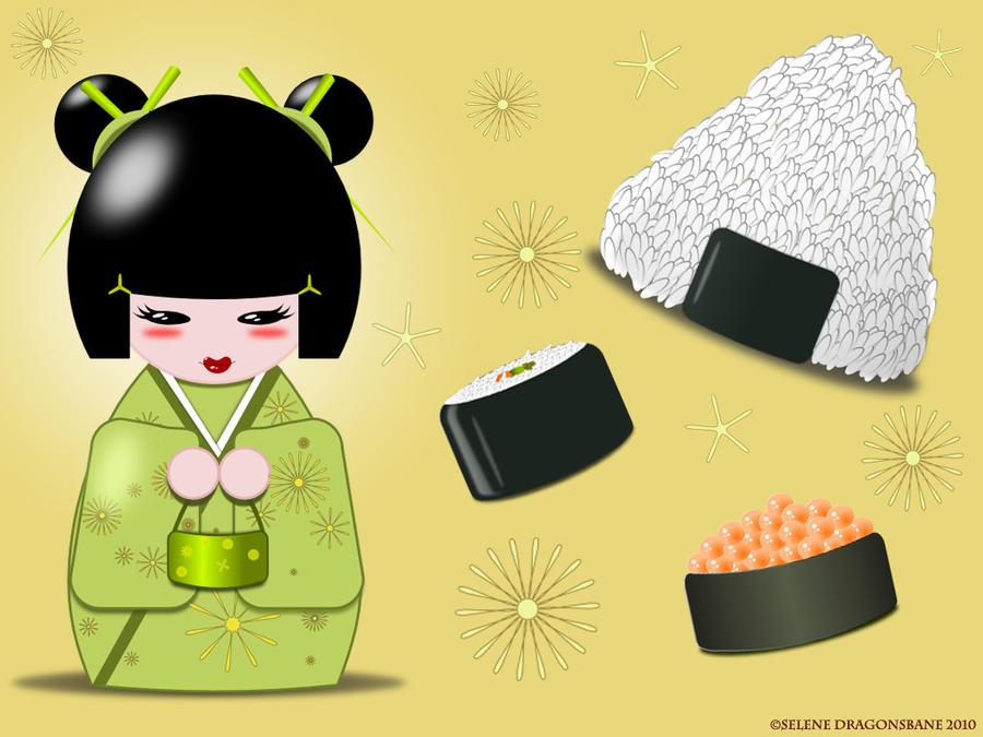 Kokeshi Bento Wallpaper by selene713