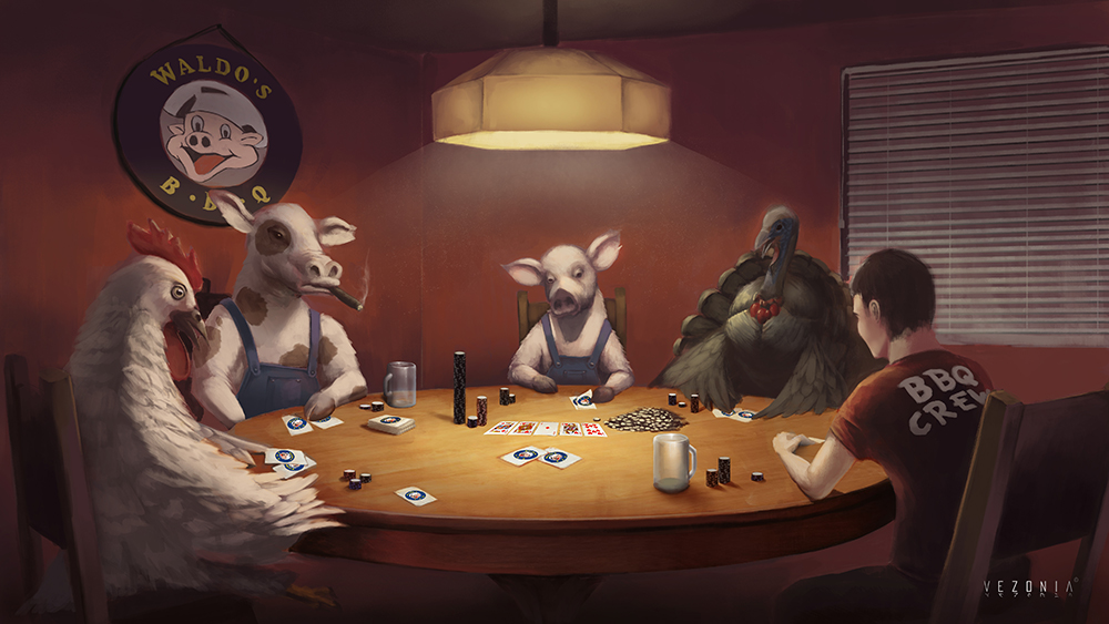 Animals playing poker picture run it once poker room