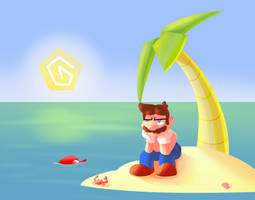 Stranded Mario by SerifDraws