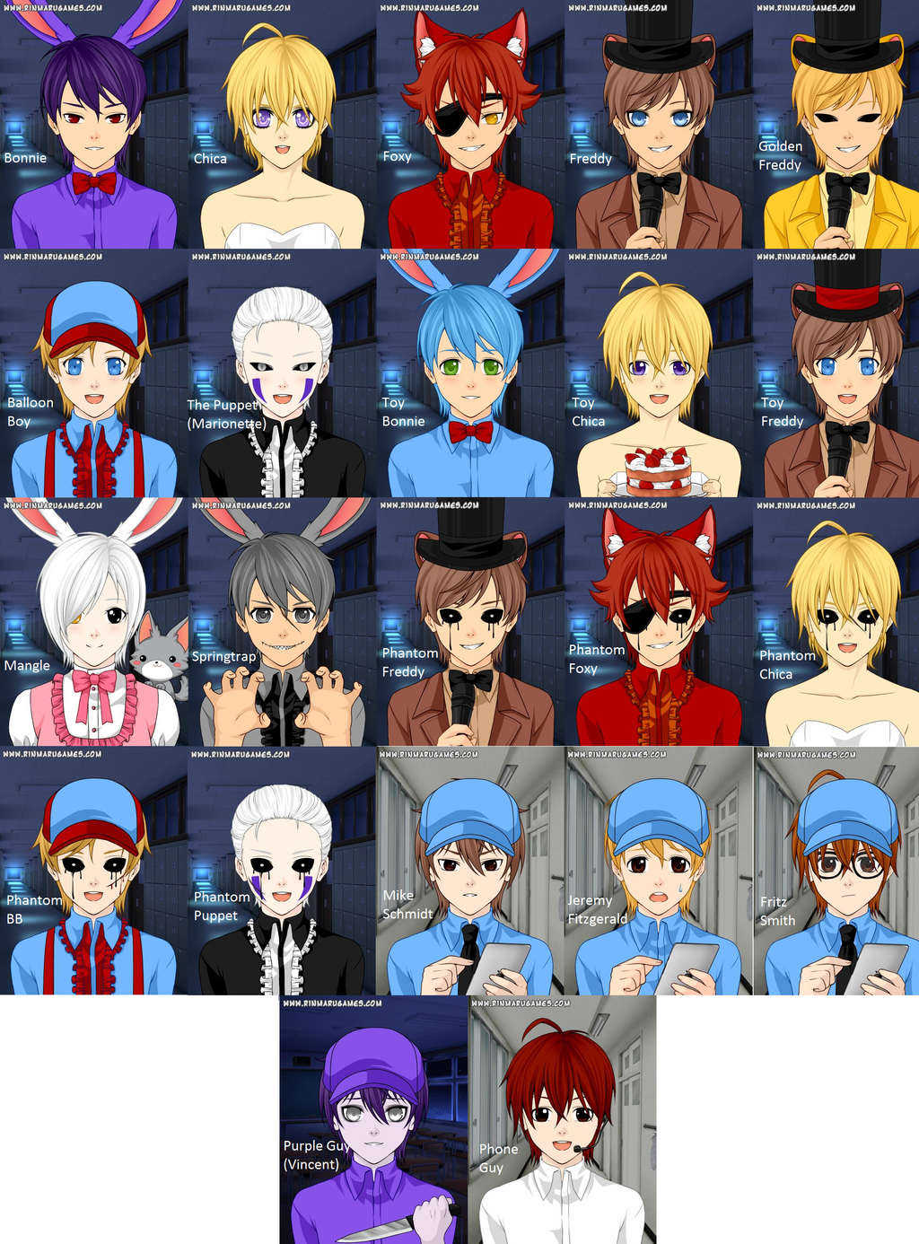 Fnaf 1 2 and 3 humanized characters by marceline2002 on deviantart