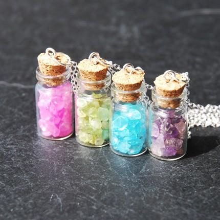 Gemstone Bottle Necklaces by AsianBunni