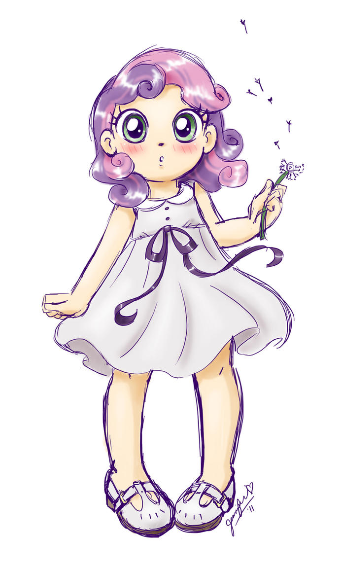 anime Sweetie Belle sketch by chibi-jen-hen