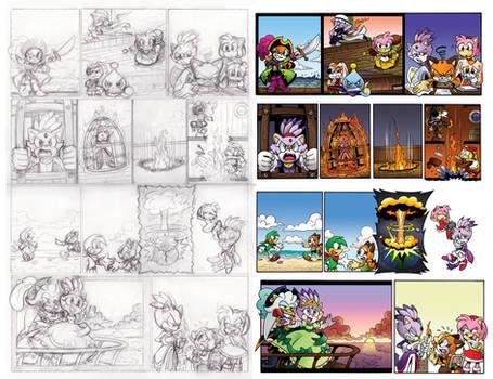 Off Panels: Sonic Universe 55-58 Roughs vs Final