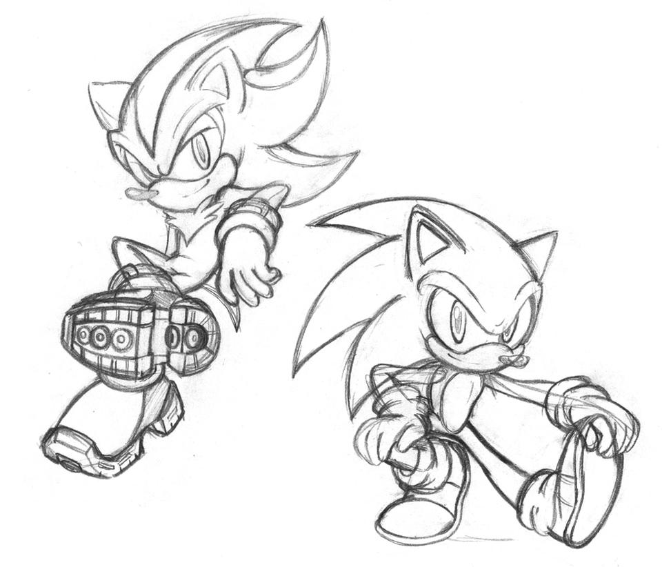 shadow sonic coloring pages - sonic and shadow doodles by chibi jen hen on deviantart