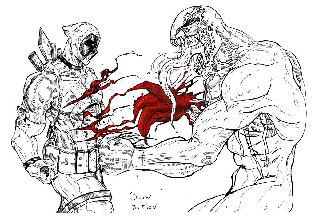 Line Art Vs No Line Art : Deadpool vs venom line art by suspension on deviantart