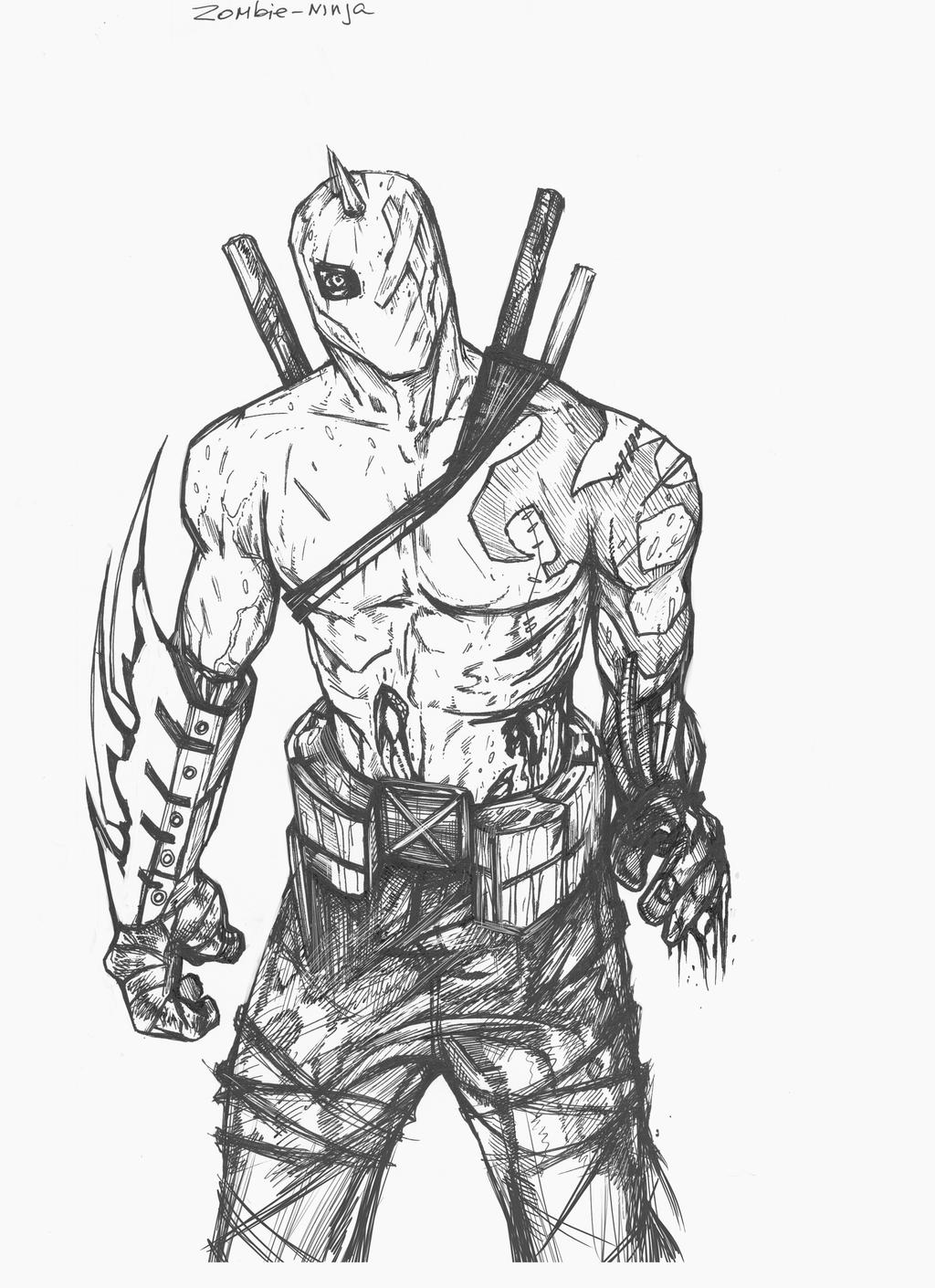 Zombie Drawings Zombie ninja by suspension99Zombie Wolf Drawing