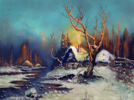 'Winter paysage with a hut'