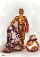 R2D2 C-3PO BB-8 by ArtofOkan