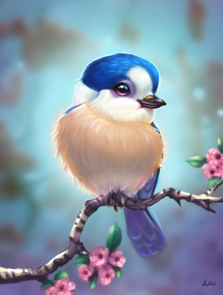 Blue headed little bird by ArtofOkan