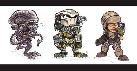 Aliens VS Predator VS Marines by MarcWasHere