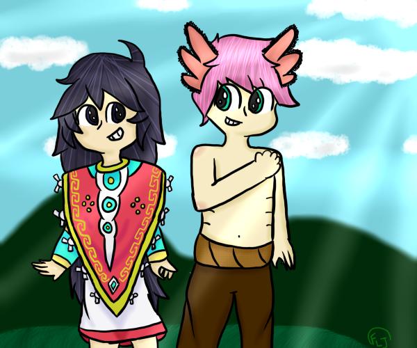 Donaji and Axolotl by Dashicolors