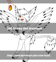 $40 Snowy Owl Auracorn - CLOSED by Crow-Faced