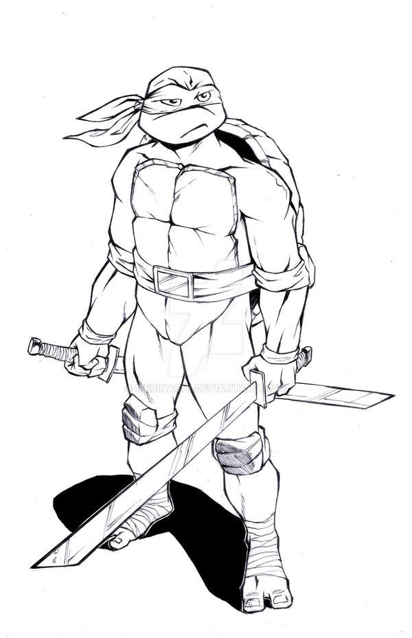 Line Art Ninja Turtles : Teenage mutant ninja turtles leonardo drawing