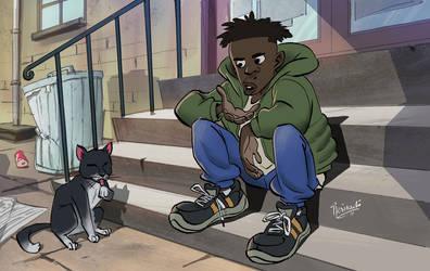 josh talking to his cat by ifesinachi