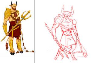 Minotaur OC side by side sketch