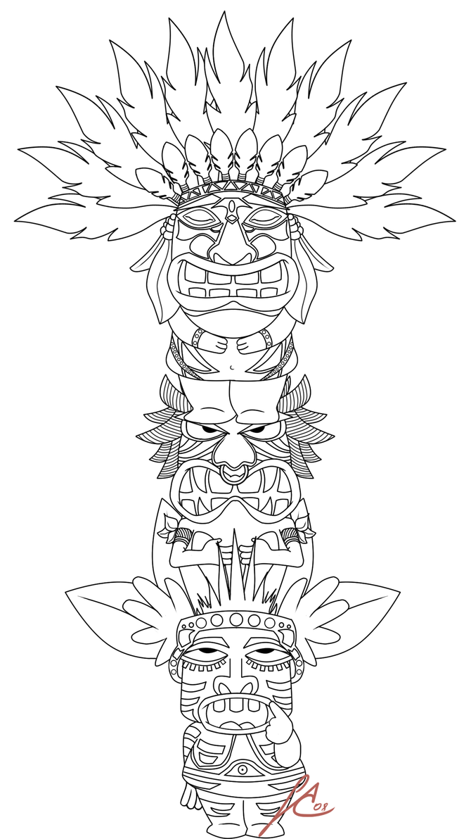 totem pole coloring pages - totem pole by saintaria on deviantart