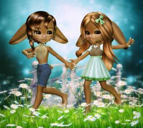 Spring Bunnies by RavenMoonDesigns
