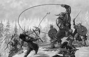 Kinswords Ogre Fighting Cromlech Guard by quellion