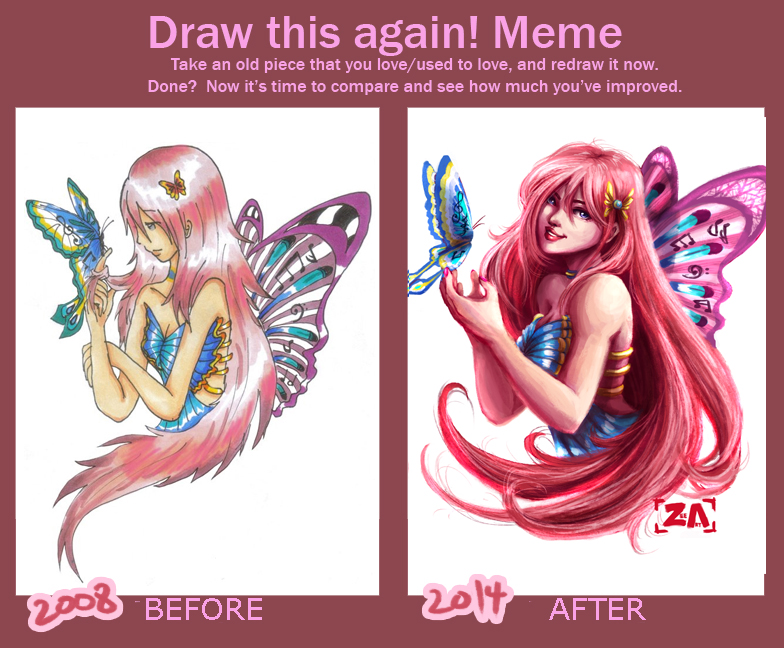 Draw This Again Meme: Butterfly girl! by ZLynn on DeviantArt