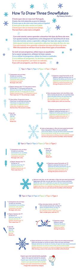 How To Draw Three Snowflakes - Multilanguage