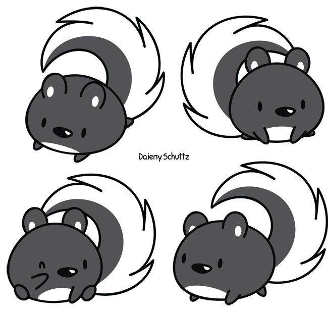 how to draw a cute baby skunk