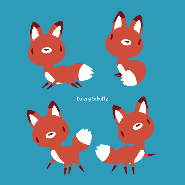Lineless Fox Poses by Daieny