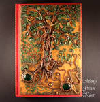 Polymer clay cover for notebook, Mysterious forest
