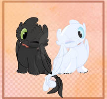 Baby Toothless and Baby Light Fury