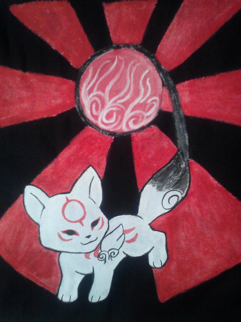 Chibiterasu canvas bag painting by Sakura-chan4100