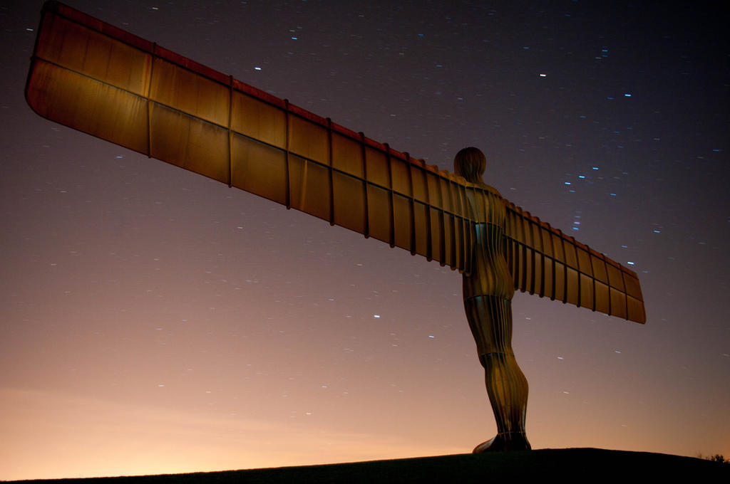 angel of the north at night by paradoxofminds on deviantart
