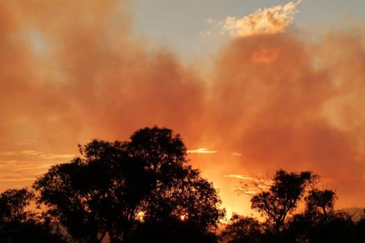 Smoke against sunset
