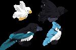 Bird Exports - Blue, Black, + White [Kisekae]