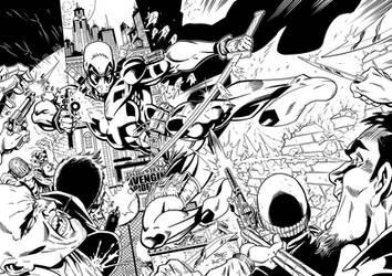 Deadpool inking sample by skulfrak