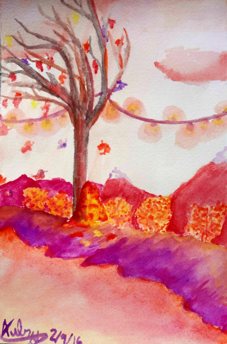 Warm Color Scheme Watercolor By Aubry Strawberry