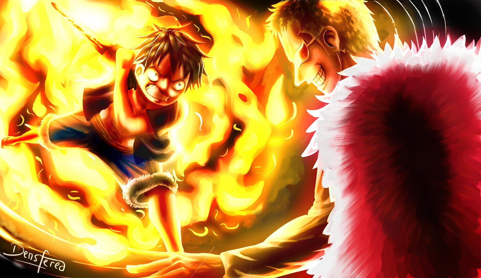 Luffy vs Dofflamingo - Red Hawk by Densferea on DeviantArt