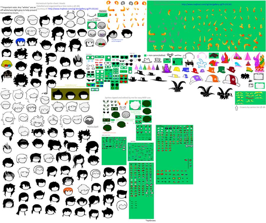 Homestuck Head Spritesheet (Updated) by x-Vee-rocks-x