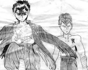 Kuwabara and Yusuke by Aloria