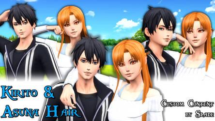 [Sims 4 DL] Sword Art Online Kirito and Asuna Hair by Tx-Slade-xT