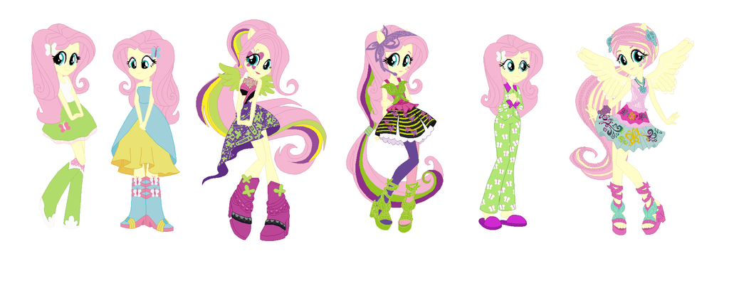 Fluttershy Fashion Lineup (human Form) by Obeliskgirljohanny