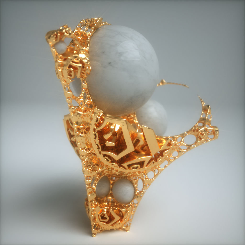 jewelry test - Mandelbulb3D Mesh in octane render