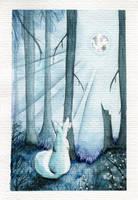 White fox in bright night by MiaErrianIrielynn