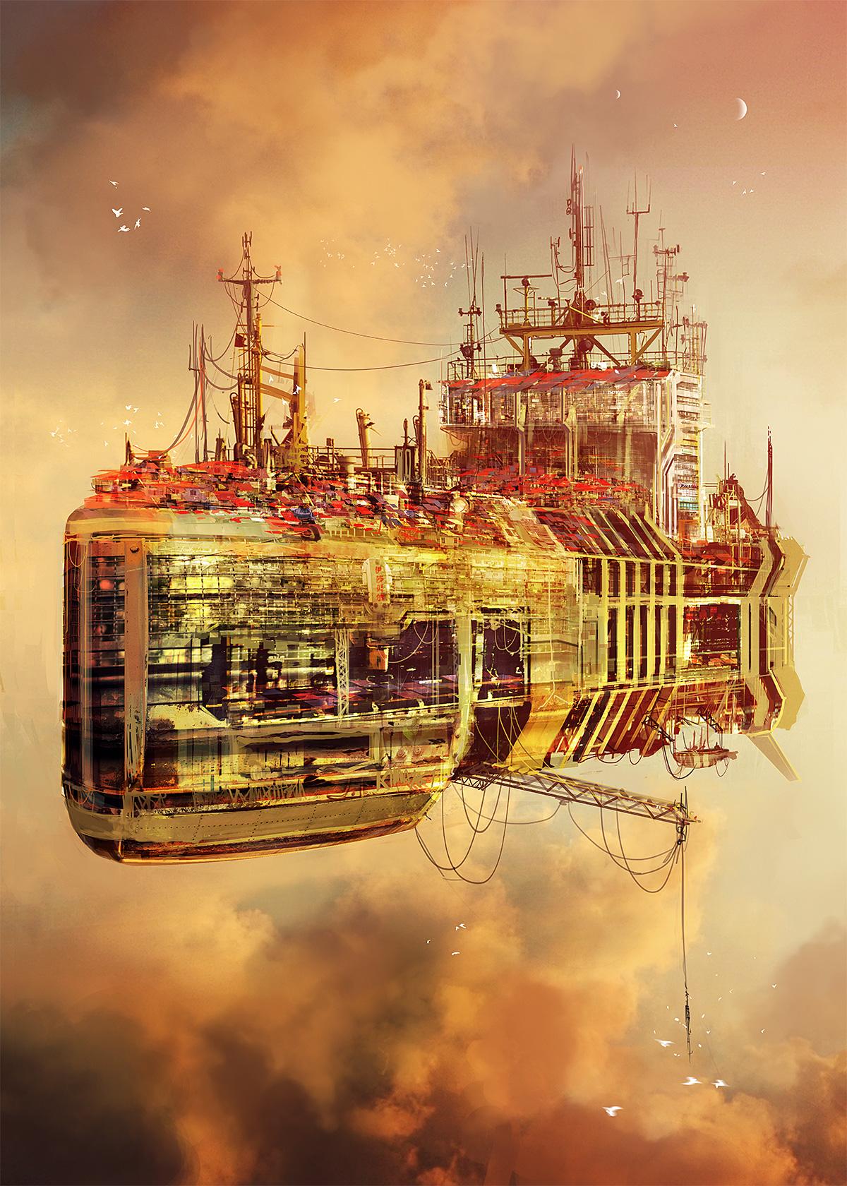 Big rusty flying town ship by MacRebisz