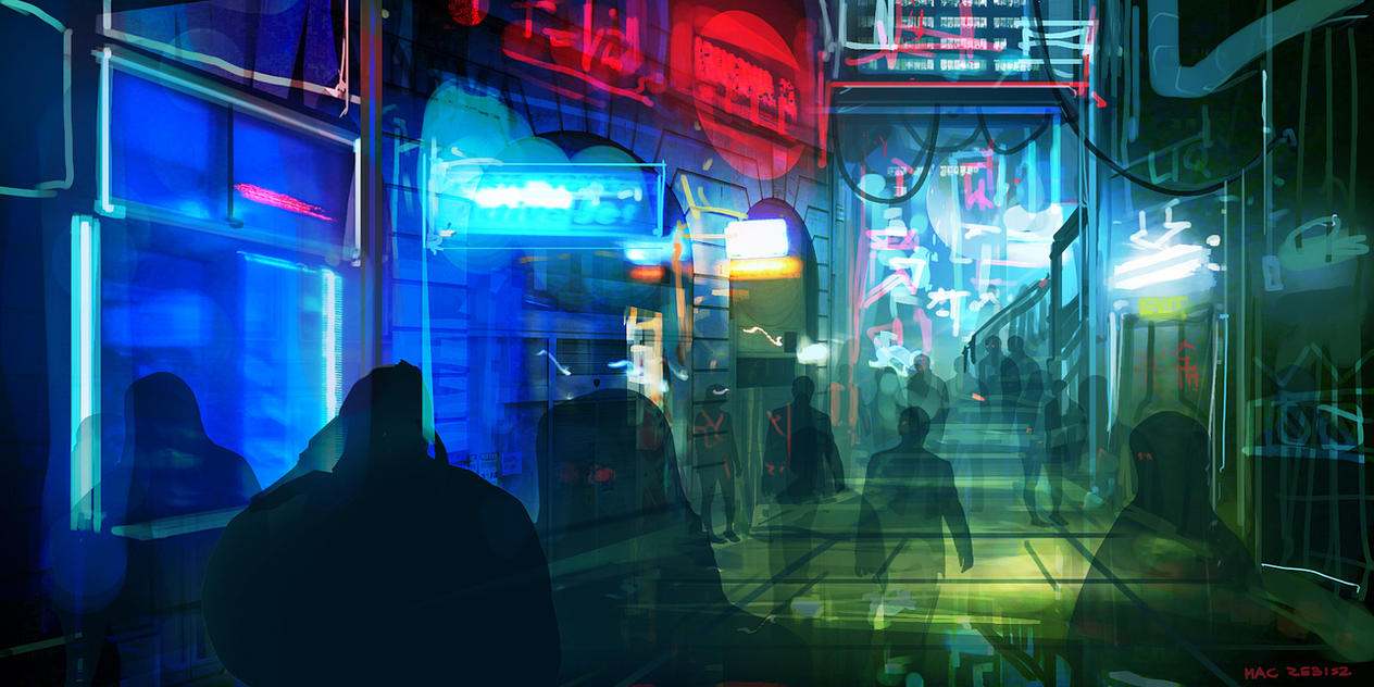 CoffeePainting: Neon street by MacRebisz