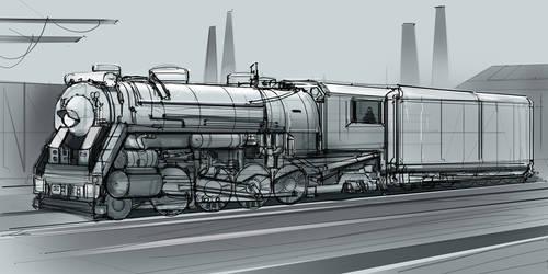 CoffePainting: Steam locomotive sketch by MacRebisz