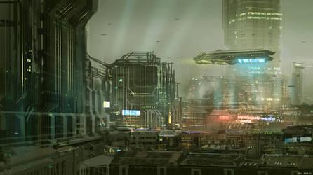 CoffeePainting: Sci-fi city