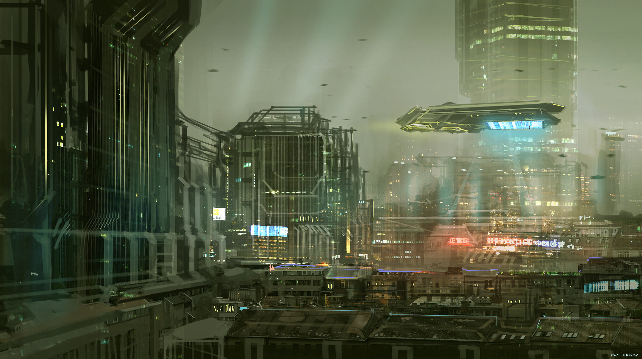 CoffeePainting: Sci-fi city by MacRebisz