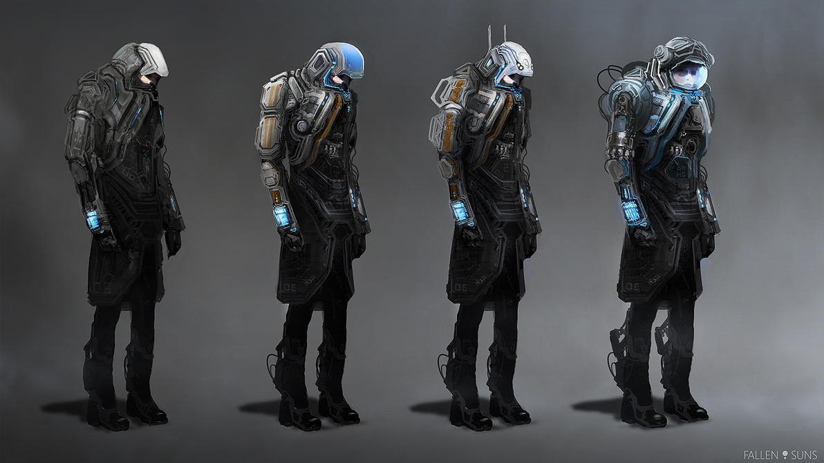 Fallen Suns: Protective suits concepts by MacRebisz