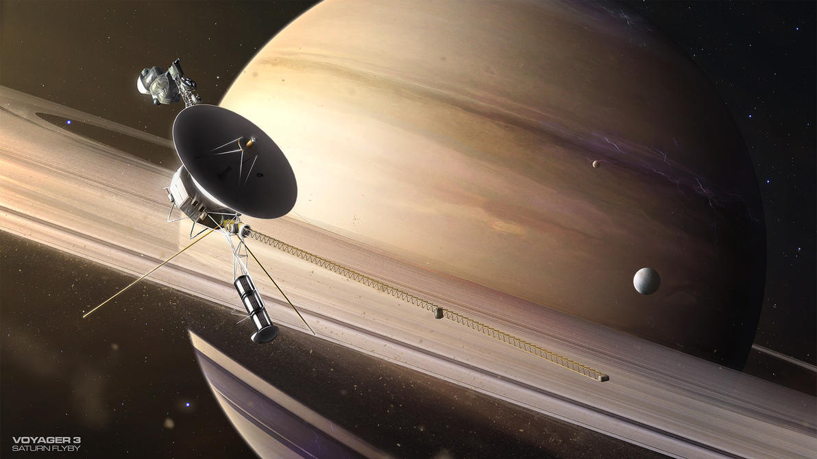 Voyager 3 Saturn flyby by MacRebisz