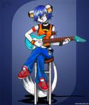 Mitzi plays the guitar